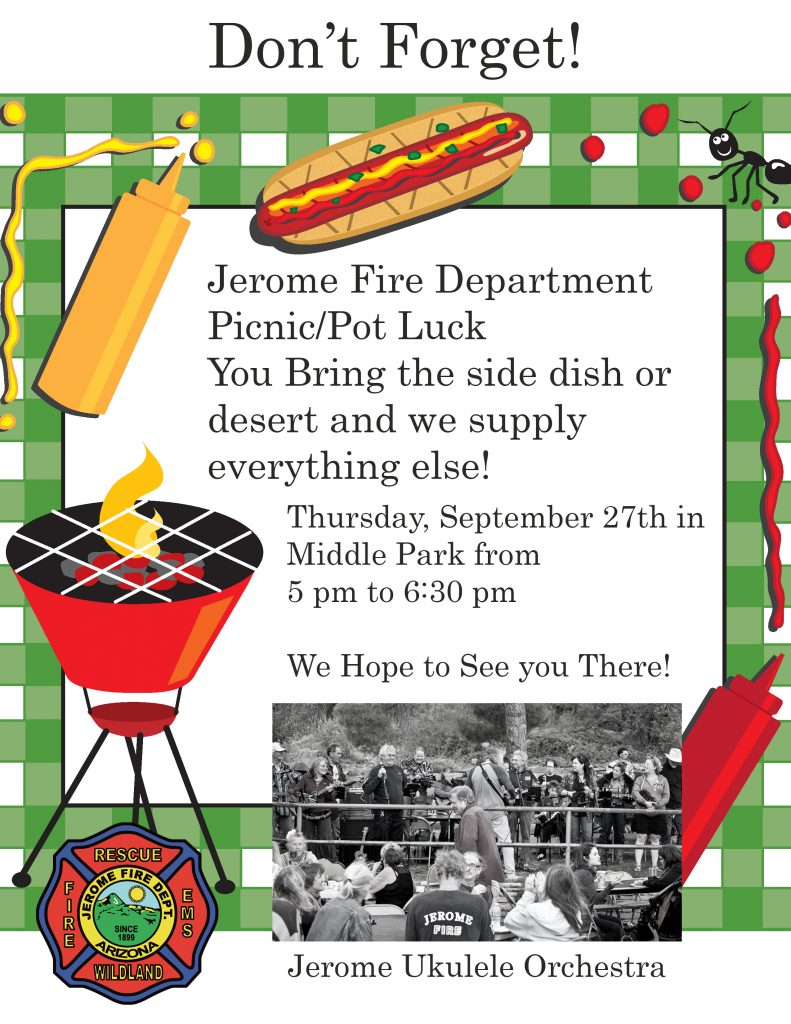 Jerome Fire Department town picnic poster
